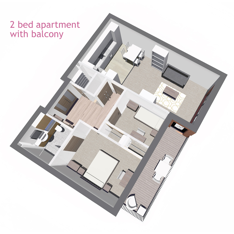 1 bed apartment, with balcony